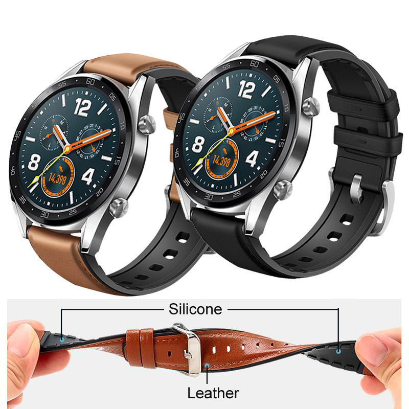 22mm Watch Strap For Huawei Watch GT Band Genuine Leather Silicone For Huawei Honor Magic Bracelet Amazfit Pace Stratos 2 Strap