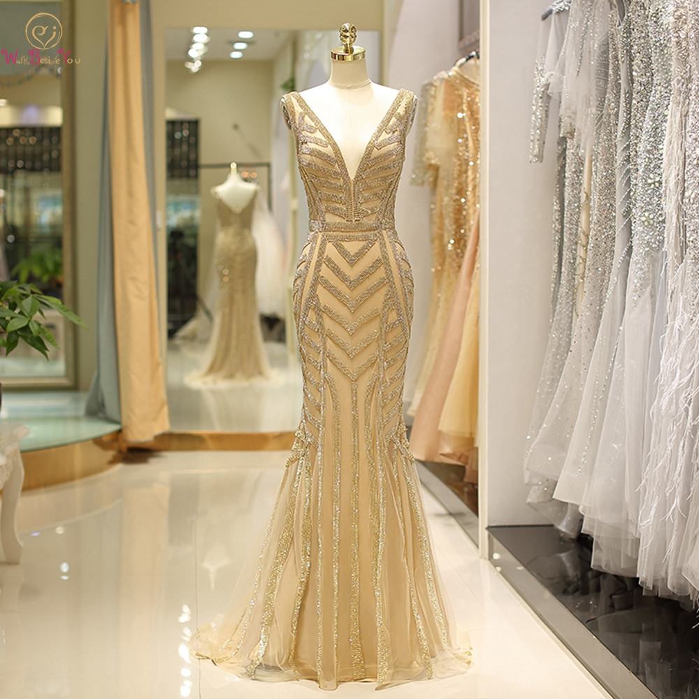 100 Real Gold Evening Dresses Crystal Mermaid Deep V neck Sexy Sleeveless Prom Formal Party Gowns