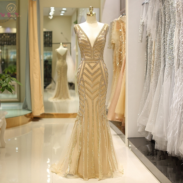 100% Real Gold Evening Dresses Crystal Mermaid Deep V neck Sexy Sleeveless Prom Formal Party Gowns abendkleider robe de soiree