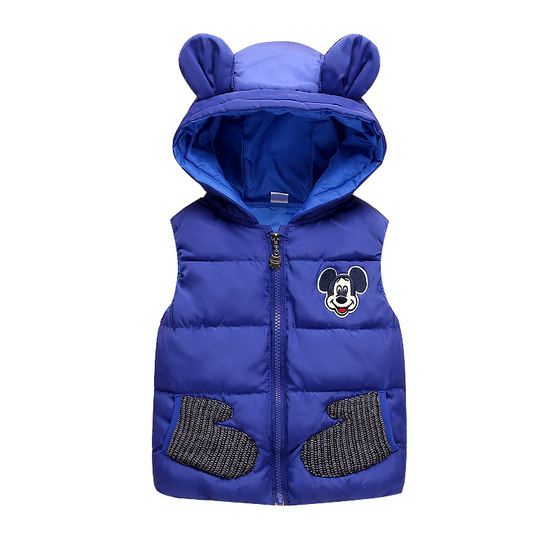 New 2019 Children Autumn Winter Mickey Vest for 1 5T Boys Baby Kids Thick Cartoon Mouse Hooded Warm Waistcoat Clothing Outerwear in Vests from Mother Kids