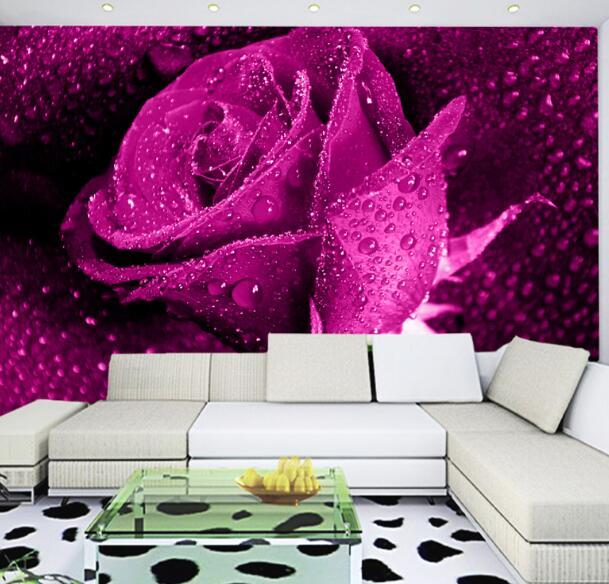 Custom Any Size Purple Rose Wall Mural Modern Art Painting Mural ...