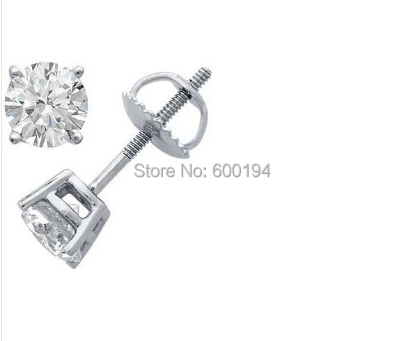 6MM Solid White Princess Cut Square Cz Screw Back Stud Earrings Rhodium Plated