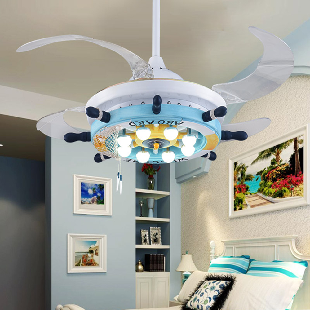 110v 220v led cartoon ceiling fans modern dining lighting for Mediterranean lighting fixtures