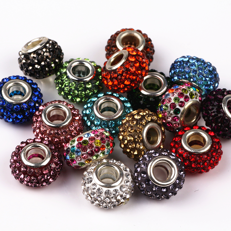 10PcsLot Mix Color Rhinestone Beads Round DIY Spacer European Czech Beads Charms Fit For  Charms Bracelet