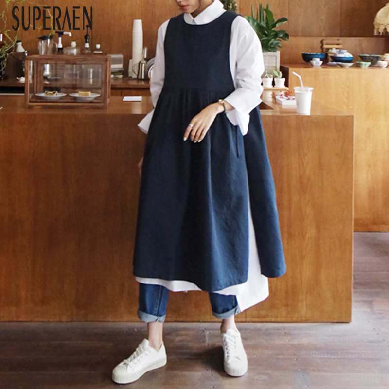 SuperAen 2019 Women s Sleeveless Dress New Korean Style Summer Ladies Dress Solid Color Fashion Wild