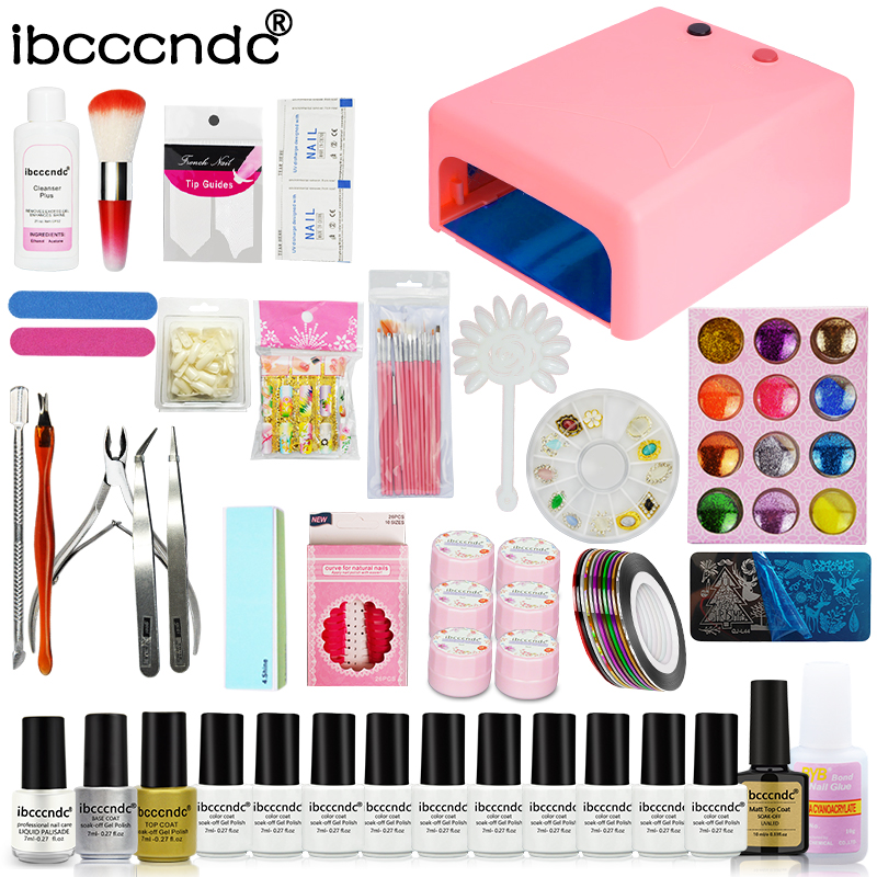 Ibcccndc Nail Art Set 36W UV Lamp 10 Color 7ml Soak off Nail Gel Base Top Coat Polish Remover Flower Gel Manicure Tools File Kit nail art manicure tools set uv lamp 10 bottle soak off gel nail base gel top coat polish nail art manicure sets