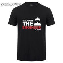 Camiseta masculina engenharia, moda de verão, sem medo, a engenharia está aqui, camiseta de algodão de manga curta, camisetas de homens camiseta OT-658