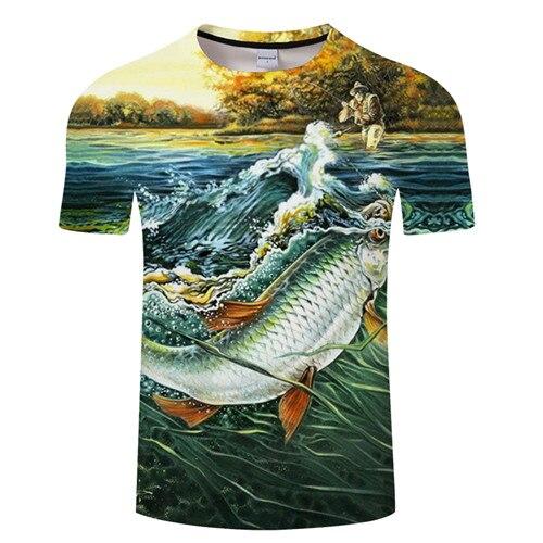 Новая футболка для рыбалки, стильная повседневная футболка с цифровым 3D принтом рыбы, мужская и женская футболка, летняя футболка с коротким рукавом и круглым вырезом, Топы И Футболки S-6XL - Цвет: TXKH1217