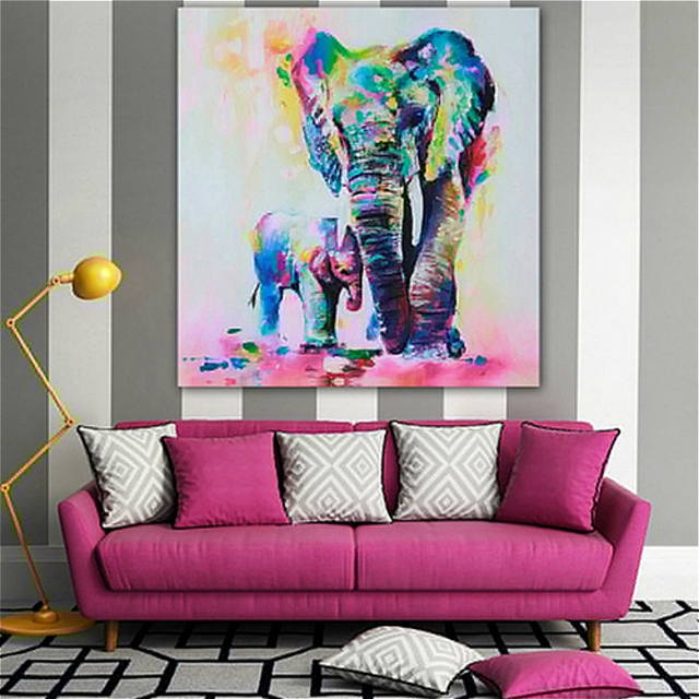 Multicolor Elephant Mother Pattern Canvas Painting for Living Room ...