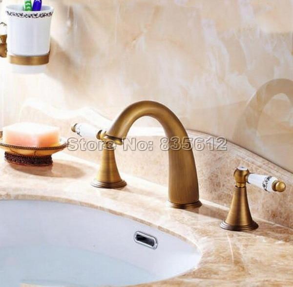 Antique Brass Bathroom Faucet Wash Basin Mixer Vessel Sink Tap Deck