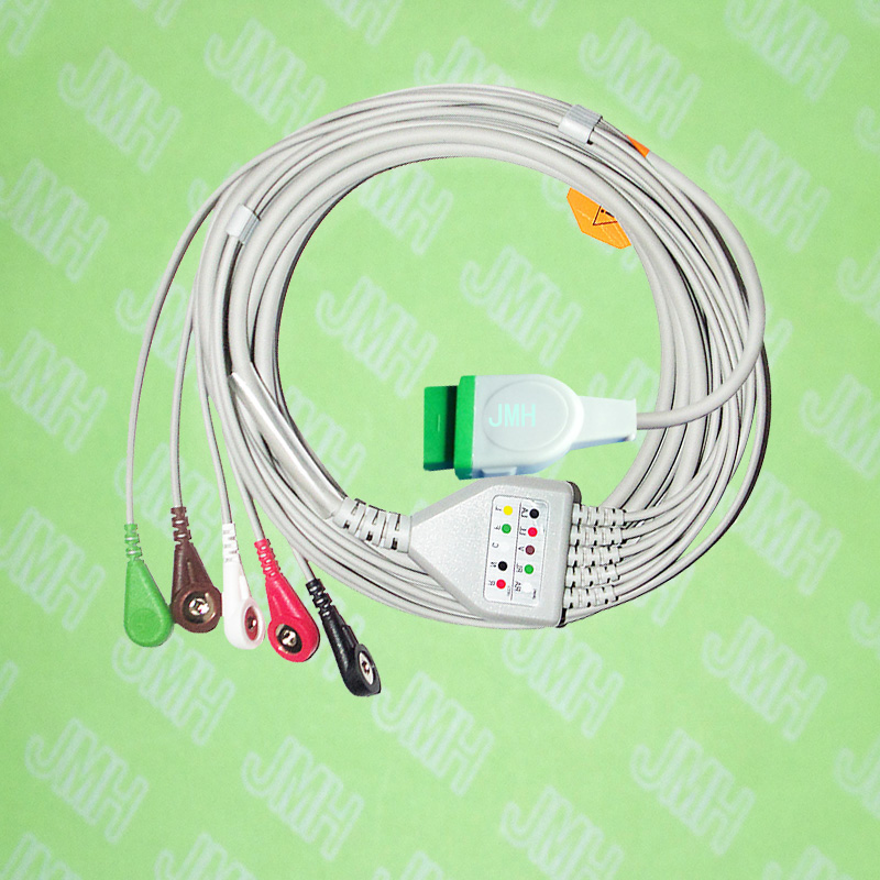 Compatible with 11pin GE Marquette ECG Machine,one-piece ECG cable and leadwire the 5 lead snap,IEC or AHA.