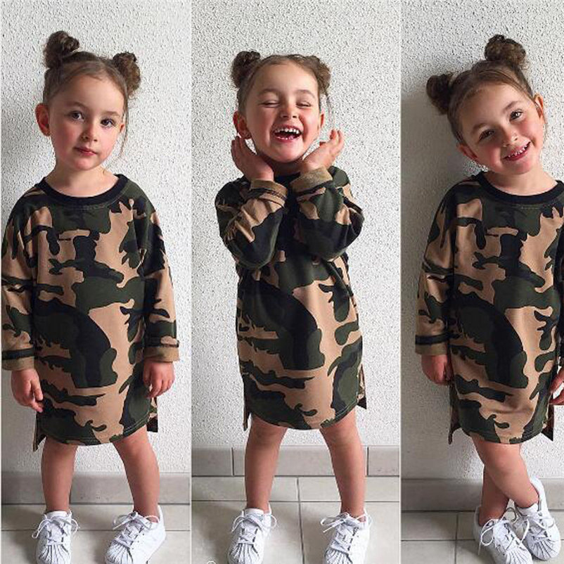 mini camouflag baby girls dress fashionable long sleeve cool girl dress for toddler girls causal conjunto menina 4OT1 (5)