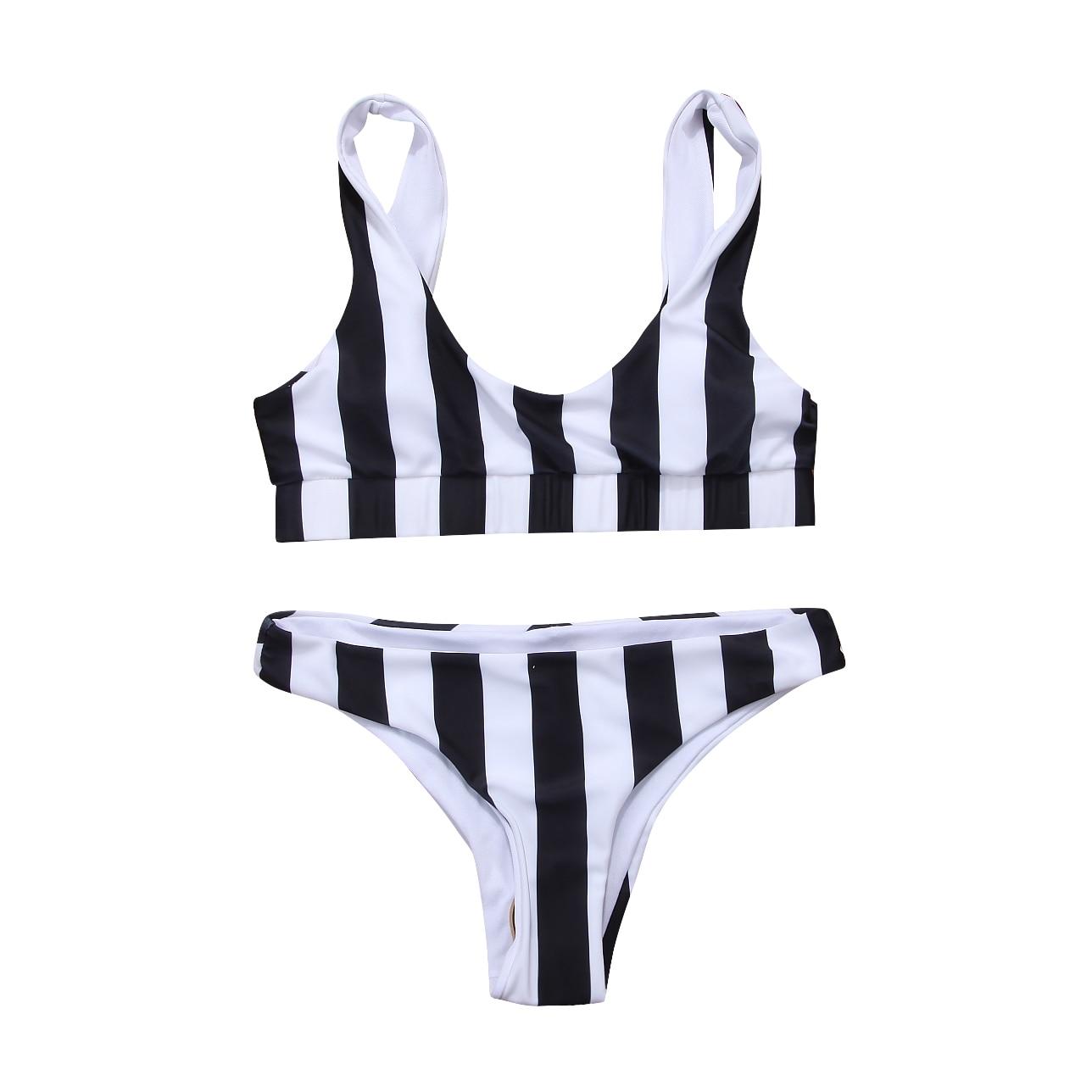 hirigin 2019 Bikini Set Women Swimwear Hot Stripes Push Up Padded Swimsuit Women Bathing Suit Beachwear Brazilian Biquini New