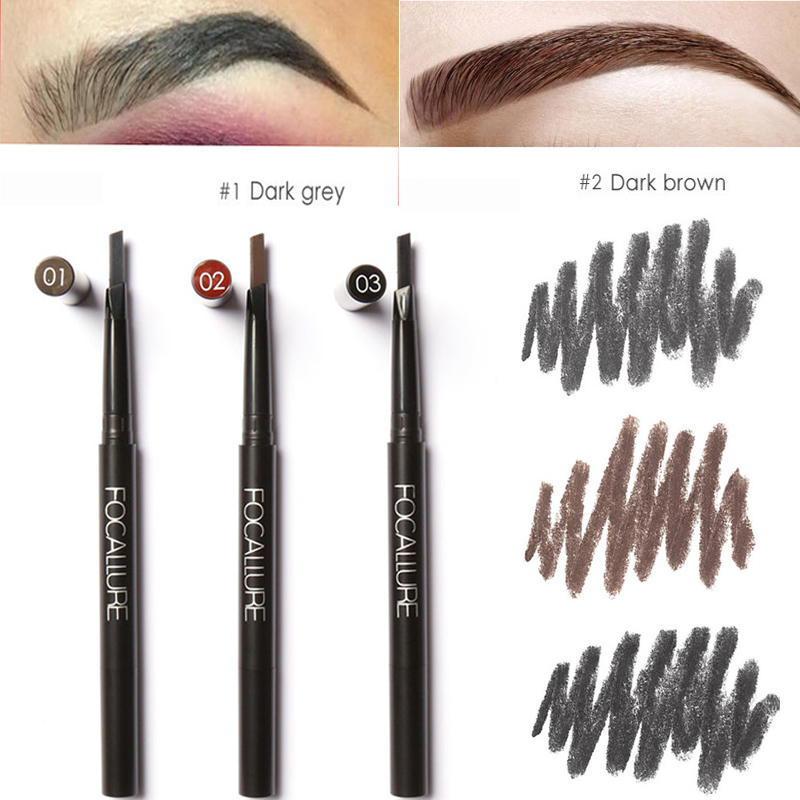 Focallure Brand Makeup Double-ended Eye Brow Cosmetic With Mascara Professional Black Brown Color Waterproof Eyebrow Pencil Lot