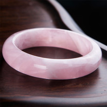 Precious Natural Pink Rose Quartz Crystal Gemstone Woman Lady Fashion Bangle Inner Diameter 60mm