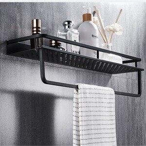 Image 2 - Siyah banyo raf uzay alüminyum duş sepeti köşe rafları banyo şampuanı tutucu mutfak depolama raf aksesuarları