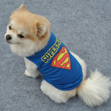 Superman Pet Clothes Pup Dog Gem Crown Print T-shirt Doggy Breathable Net Vest Best