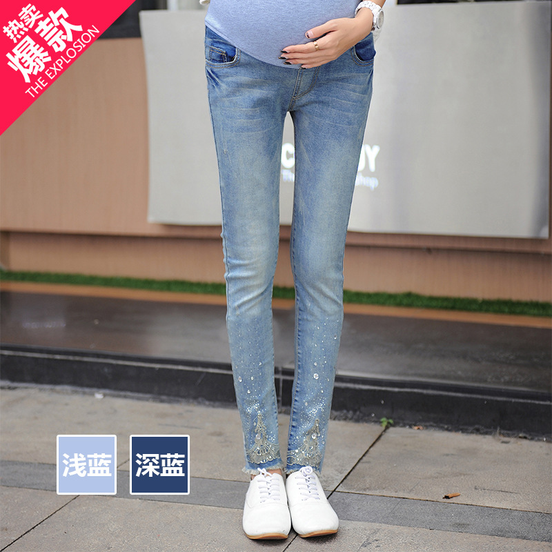 Hot Sale New Fashion Paste drill Women Maternity Jeans Elastic Waist 100% Cotton Pregnant Women Legging Jeans Pants high quality hot sale hot sale car seat belts certificate of design patent seat belt for pregnant women care belly belt drive maternity saf