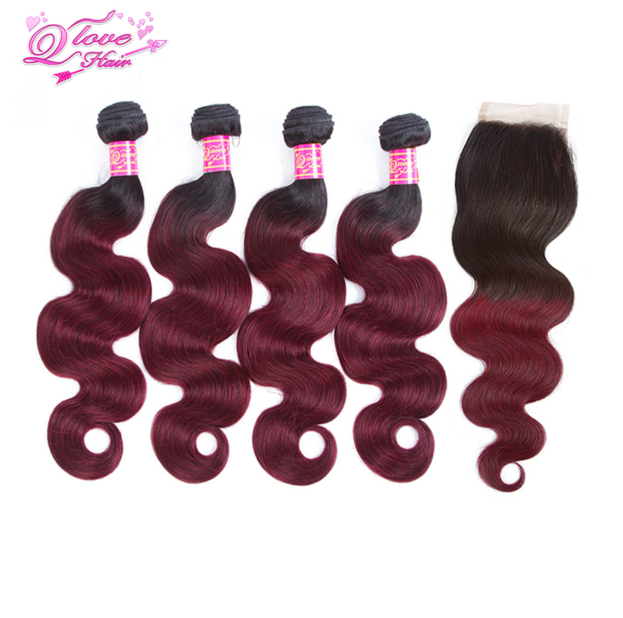 Queen Love Hair Pre-Colored Malaysia Hair Body Wave 3 Bundles With Closure Human Hair Bundles With Lace Closure Ombre 1b/99J