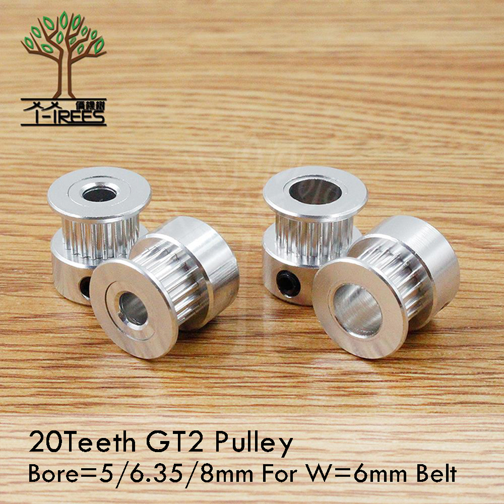 GT2 Timing Pulley 20 teeth Bore 5mm 6mm 6.35mm 8mm for Width 6mm GT2 synchronous belt 2GT Belt pulley 20teeth 20T 5pcs/lot powge 8pcs 20 teeth gt2 timing pulley bore 5mm 6mm 6 35mm 8mm 5meters width 6mm gt2 synchronous 2gt belt 2gt 20teeth 20t