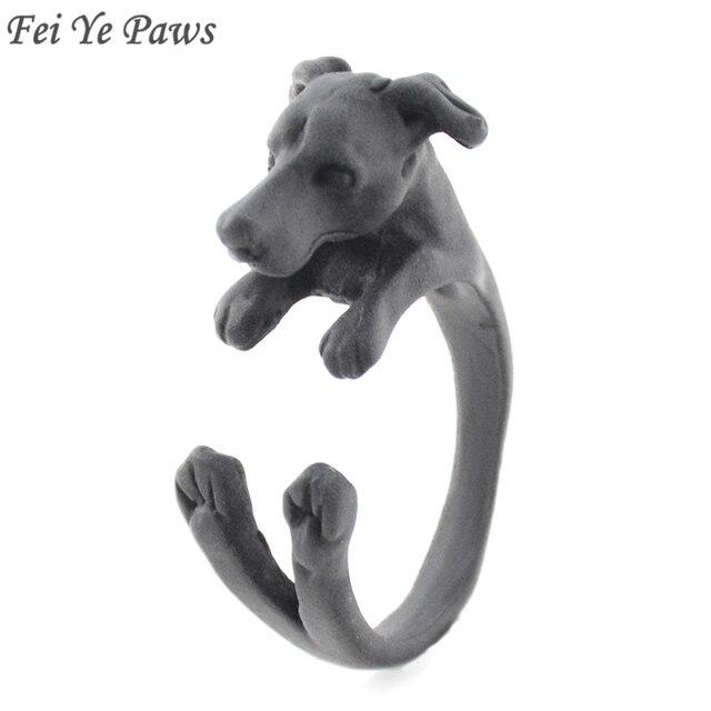 פיי יה כפות פאנק שחור איטלקי גרייהאונד כלב טבעת עבור נשים אנל Boho ויפט בעלי החיים Knuckles טבעות עבור בנות כלב מאהב מתנה
