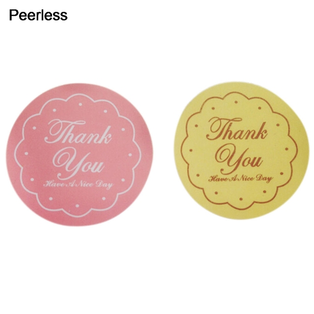 Peerless yellow pink round thank you letter sticker labels seal gift stickers 48 pcs lot