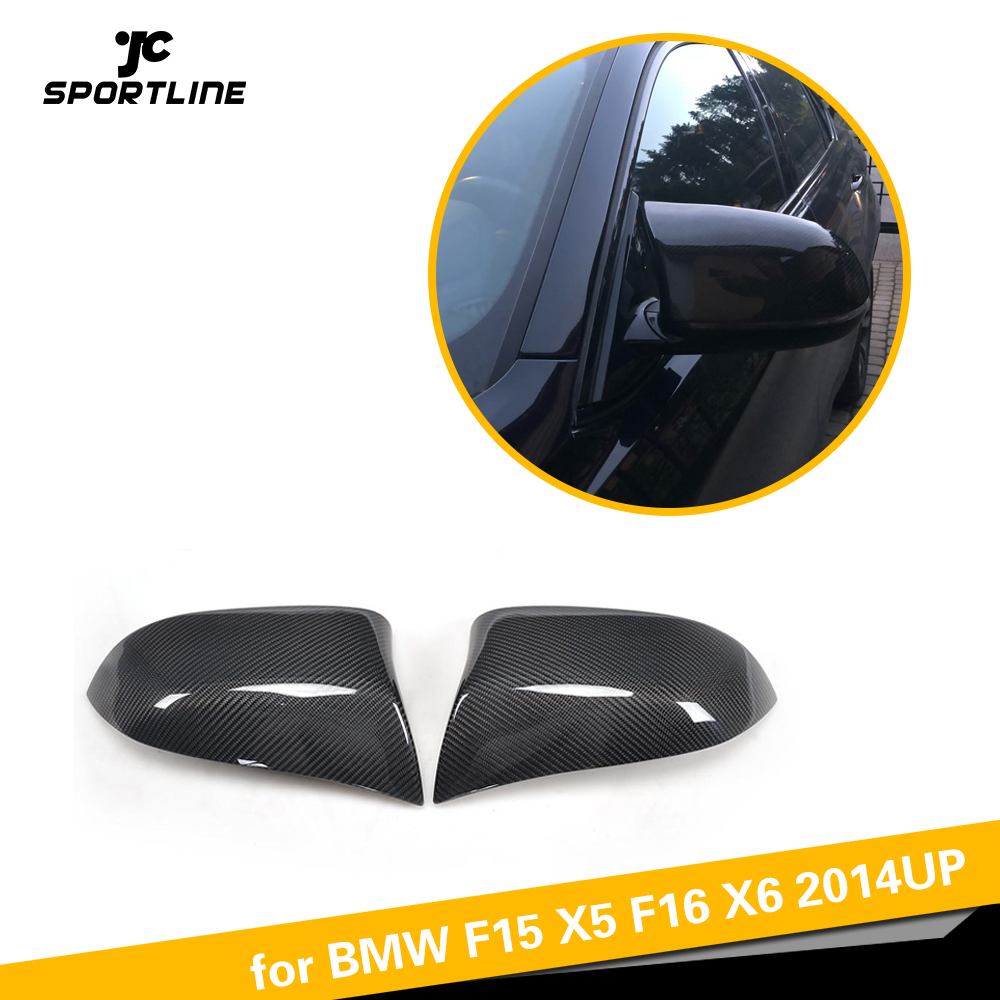 Car Styling Carbon Fiber Replacement Side Mirror Cover Caps for BMW F15 X5 F16 X6 2014UP