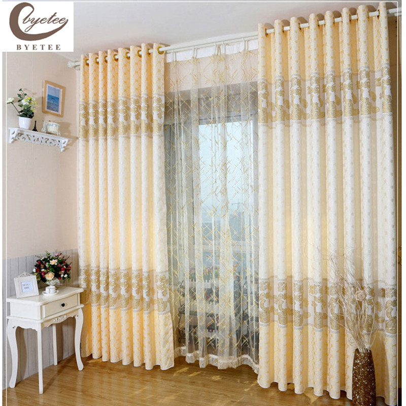 Byetee Living Room Bedroom Luxury Curtains Gold Jacquard Curtain Fabric Pro