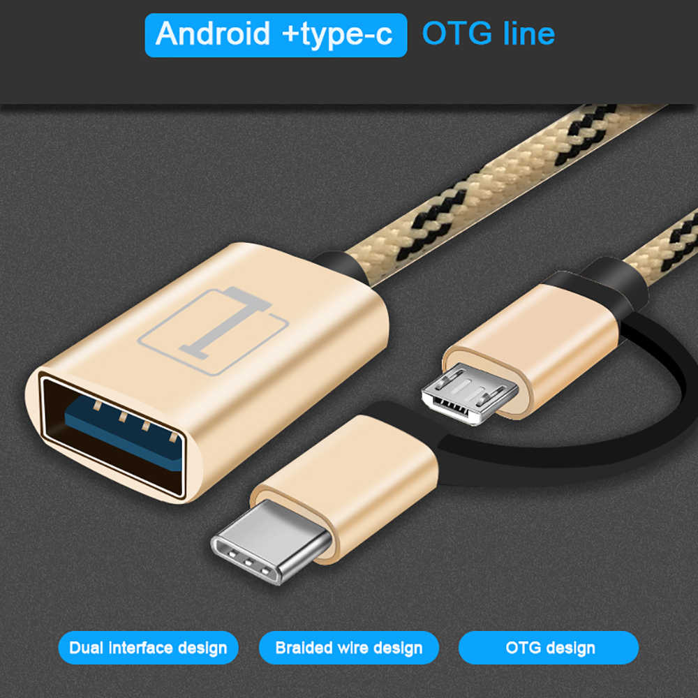 Robotsky 2 في 1 نوع C المصغّر USB OTG مهائي كابلات أندرويد USB OTG محول ل شاومي Redmi سامسونج موصل USB OTG محول