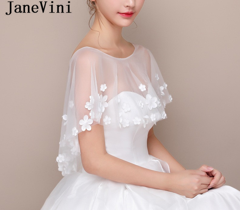 JaneVini 2019 Simple Wedding Cape With Flowers Bridal Tulle Boleros Stoles White Jacket Wedding Dress Wrap Bride Accessories