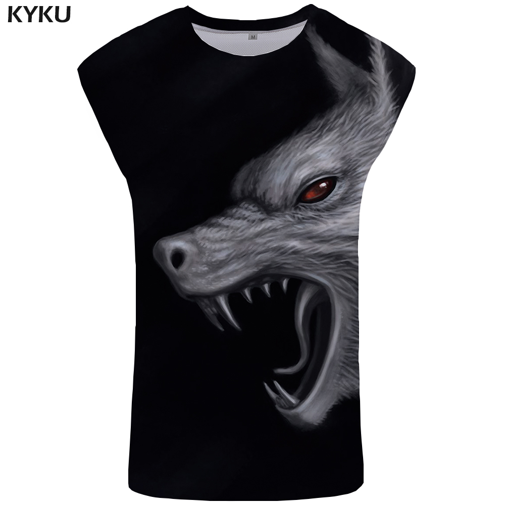 KYKU Brand Wolf   Tank     Top   Men Black Ftness Vest Harajuku Undershirt Gothic Singlet StringerTrend Clothing Mens Sleeveless Shirt