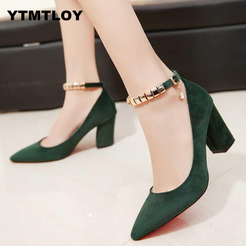 2019 Spring Autumn Women Pumps <font><b>Sexy</b></font> buckles High Heels <font><b>Shoes</b></font> Fashion Pointed Toe Wedding Party Square Heel String Bead image