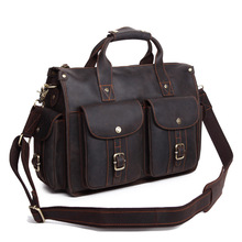 Vintage Cowhide Crazy Horse Leather Men's Briefcase Laptop Business Bag Genuine Leather Messenger Bags Men Shoulder Bag