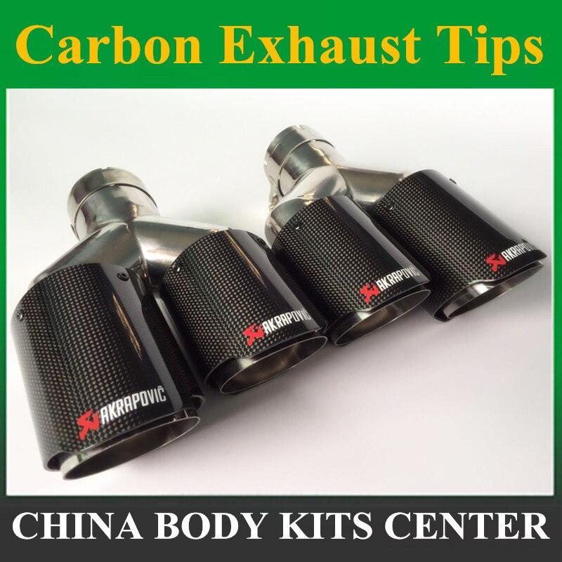 Une pièce Y modèle Akrapovic échappements de carbone double embouts d'extrémité pour BMW BENZ AUDI VW échappement double silencieux tuyaux embouts de queue