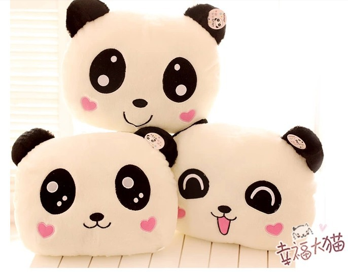 Hot sale 1pc 36cm cute expression panda plush doll warm hand hold pillow 3 styles to choose stuffed toy children birthday gift