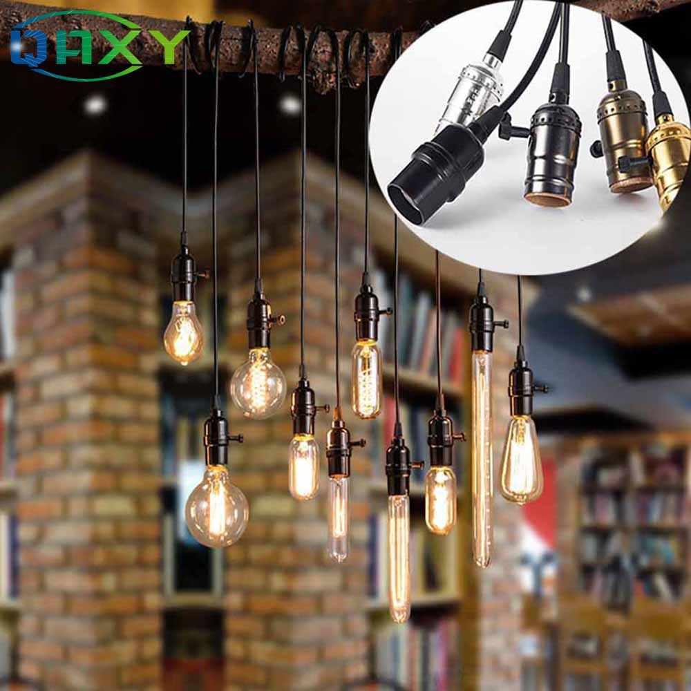 Vintage Retro Lamp Socket E27/E26 Screw Base Golden/Silver/Black Lamp Holder Fitting To Pendant Lamp Desk Lamp Wall Light[F4502]