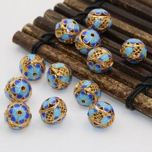 13 мм уникальный дизайн круглые шарики разделители бусины перегородчатая эмаль золотой цвет новые модные женские и мужские ювелирные издел...