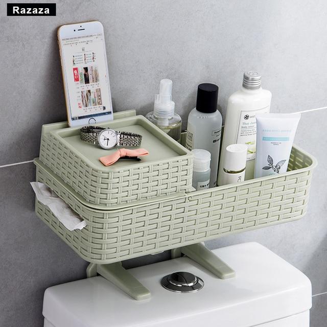 new bathroom shelf organizer wall hanging basket roll paper towel