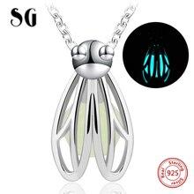 925 Sterling Silver Chain Luminous Hängsmycke Mode Smycken Djur Glödande Glowworm Halsband & Hängsmycken För Kvinnor Heta produkter