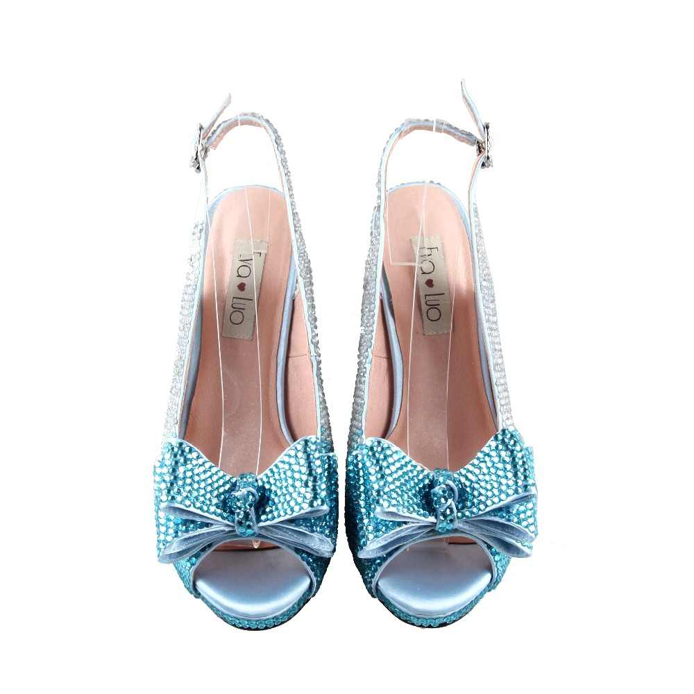 Bs959 Dhl Custom Handmade Powder Blue Crystal Bow Shoes With