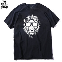 THE COOLMIND 100% cotton short sleeve animal lion printed men T shirt casual o-neck knitted mens T-shirt tops tee shirts