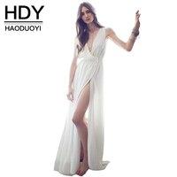 Haoduoyi נשים 2017 קיץ סקסי לבן בתוספת גודל רזה שמלת מקסי שמלות ארוכות שרוולים צד גבוה פיצול ירך עבור סיטונאי
