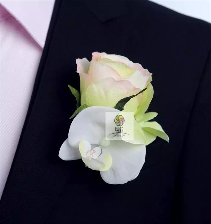 New DIY calla lilies Corsage Fashion Rose Hydrangea Flowers Grooms men Boutonniere pin brooch Wedding party decor 4 pcs/ lot C14