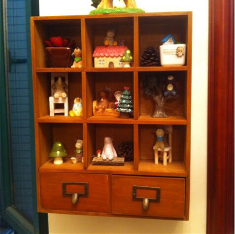 Livraison gratuite armoire de rangement en bois avec tiroirs pour boisson ou cosmétiques 42.5*9.5*33 CM