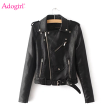 Adogirl 2019 New Autumn Winter Pu Leather Jacket Women Fashion Black Faux Motorcycle Coat Bright Colors Biker Outerwear