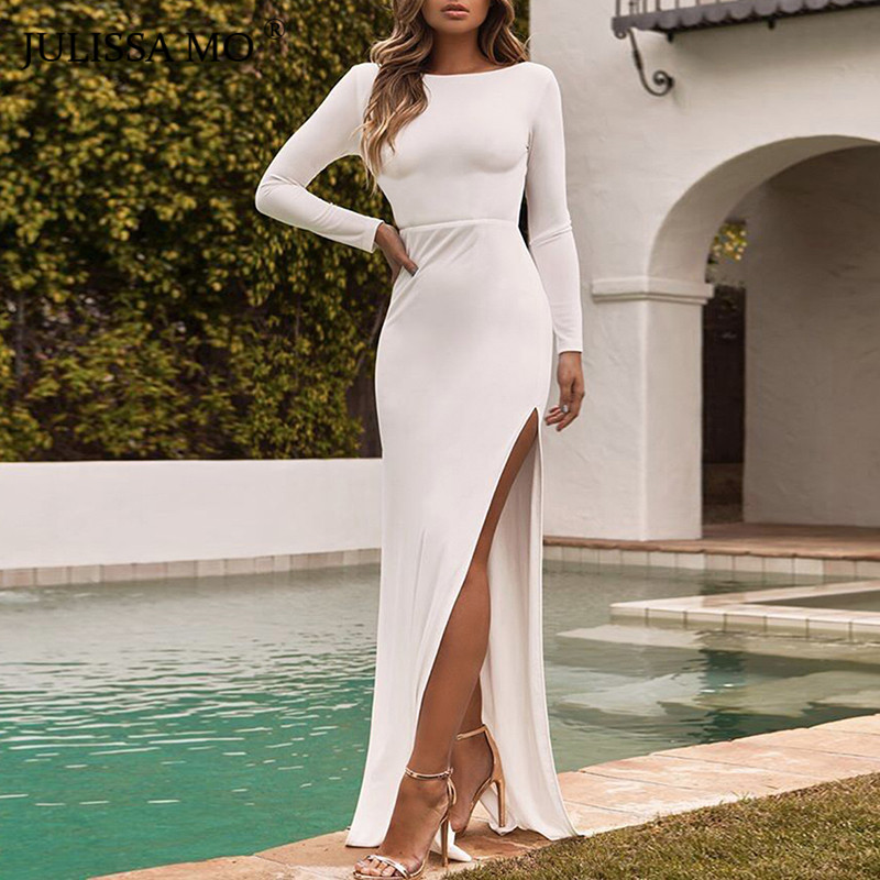JULISSA MO Sexy Backless Split Bodycon Maxi Dress Women Elegant Autumn Long  Sleeve Christmas Party Dress 22da6963ed34