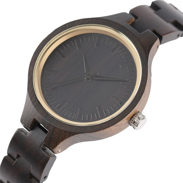 holz uhr damen frauen vintage holz armbanduhr nat rlichen ebenholz quarz armbanduhren bambus. Black Bedroom Furniture Sets. Home Design Ideas