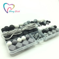 Teeny Teeth DIY Silicone Teething Necklace Kit Shades Of Gray Black White Silver Silicone Beads Necklace