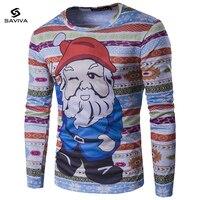 3D Cute Claus Print T Shirt Men Fashion New Men Christmas T Shirt Long Sleeve Funny