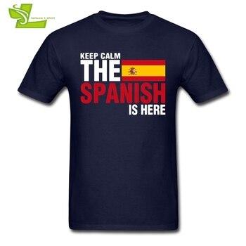 평온한 두려움을 지키십시오 스페인어는 여기에있다 T 셔츠 남자 참신 티 남성 새로운 오는 큰 최고 대중적인 Teenboys 티 셔츠 스페인 깃발